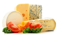 Different sorts of cheese on white background Royalty Free Stock Photo