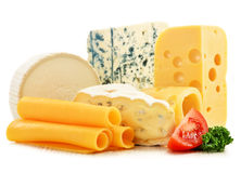Different sorts of cheese on white background Royalty Free Stock Photography