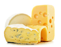 Different sorts of cheese on white background.  Royalty Free Stock Images