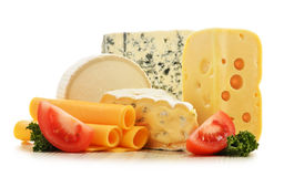 Different sorts of cheese on white background Royalty Free Stock Photos
