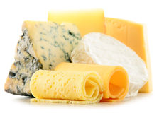 Different sorts of cheese on white background Stock Photography