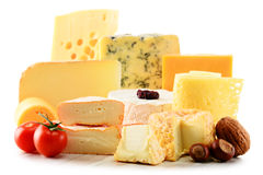 Different sorts of cheese on white background Stock Photos