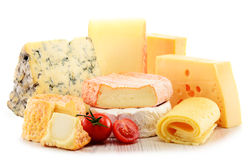 Different sorts of cheese on white background.  Royalty Free Stock Photo