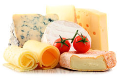 Different sorts of cheese on white background Stock Image