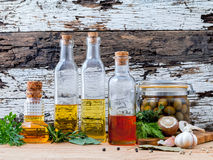 Different sorts of cooking oil,olive oil flavored and Sesame oil Stock Photo