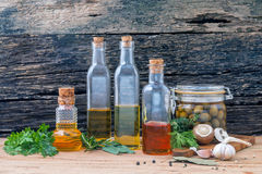 Different sorts of cooking oil,olive oil flavored and Sesame oil Stock Images