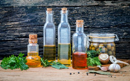 Different sorts of cooking oil,olive oil flavored and Sesame oil Stock Photography