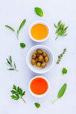 Different sorts of cooking oil,olive oil flavored and Sesame oil Royalty Free Stock Photo