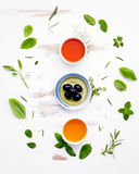 Different sorts of cooking oils. Olive oil flavored ,spice oils Royalty Free Stock Photos