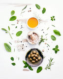 Different sorts of cooking oils. Olive oil flavored ,spice oils Stock Photos