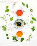 Different sorts of cooking oils. Olive oil flavored ,spice oils Royalty Free Stock Image
