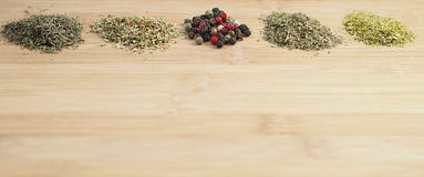 Different sorts of dried spices Royalty Free Stock Images
