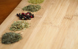 Different sorts of dried spices Royalty Free Stock Photos