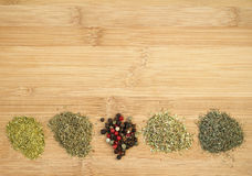 Different sorts of dried spices Stock Photos