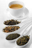Different sorts of green tea and cup. Different sorts of green tea with cup; from left to right: white cui min, Genmaicha, Kokeicha, Bancha stock photography