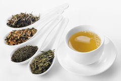Different sorts of green tea. From left to right: white cui min, Genmaicha, Kokeicha, Bancha Stock Image