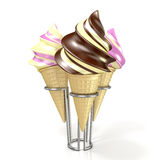 Different sorts of ice creams in a waffles Royalty Free Stock Photography