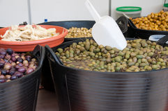 Different sorts of olives Stock Photography