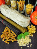 Different sorts of pasta Royalty Free Stock Images