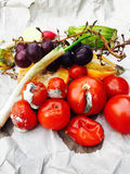 Different sorts of rotten fruit and vegetables Stock Photos