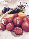 Different sorts of rotten fruits and vegetables on gray paper Royalty Free Stock Photography