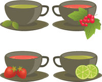 Different sorts of tea. Tea with  mint, lime, strawberry, red currants Royalty Free Stock Image