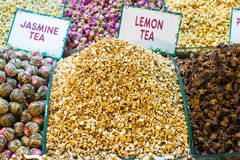Different sorts of tea on the Egyptian bazaar in Royalty Free Stock Image