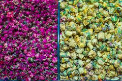 Different sorts of tea on the Egyptian bazaar in Stock Photography