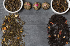 Different sorts of tea leaves. Close up stock image