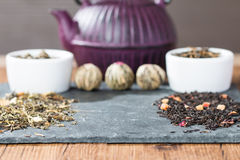 Different sorts of tea leaves. Close up royalty free stock images
