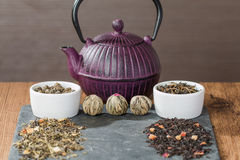 Different sorts of tea leaves. Close up royalty free stock image
