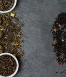 Different sorts of tea leaves. Close up royalty free stock photos