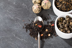 Different sorts of tea leaves. Close up royalty free stock photography