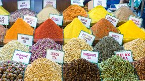 Different sorts of tea and spices on the Egyptian Royalty Free Stock Photos