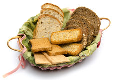 Different sorts of toasts in a basket Stock Photography