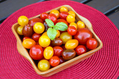 Different sorts of tomatoes served on a cerami dish. Stock Images