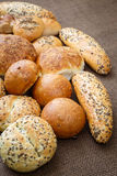 Different sorts of wholemeal breads and rolls Royalty Free Stock Images