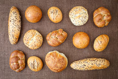 Different sorts of wholemeal breads and rolls Royalty Free Stock Photo