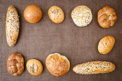 Different sorts of wholemeal breads and rolls Stock Images