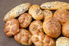Different sorts of wholemeal breads and rolls Royalty Free Stock Photography