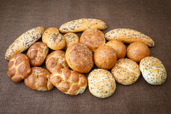 Different sorts of wholemeal breads and rolls Stock Photo