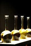 Different sorts of wine in special bottles Royalty Free Stock Photo