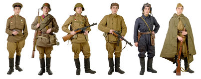 Different Soviet soldier uniforms Royalty Free Stock Photography