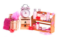 Different spa accessories and alarm clock Stock Images
