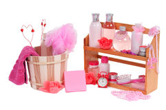Different spa accessories and two valentine heart Stock Image
