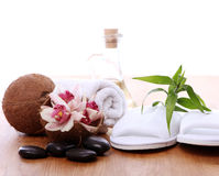 Different spa items. Over wooden surface Stock Photo
