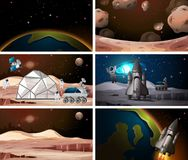 Different space scene backgrounds. Illustration royalty free illustration