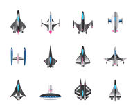Different spaceships in flight Royalty Free Stock Image