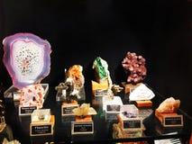 Different species of stones and Quartz, Gargoti Museum, Sinner, Maharashtra, India.  stock image