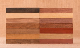 Different species of wood in small blocks Stock Photo